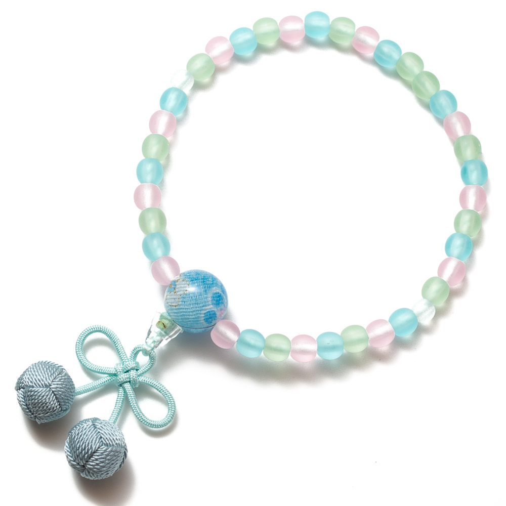 子供用数珠 ミックス玉 さくらんぼ房(水色)