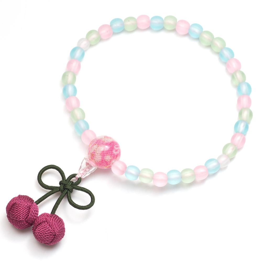 子供用数珠 ミックス玉 さくらんぼ房(ピンク)
