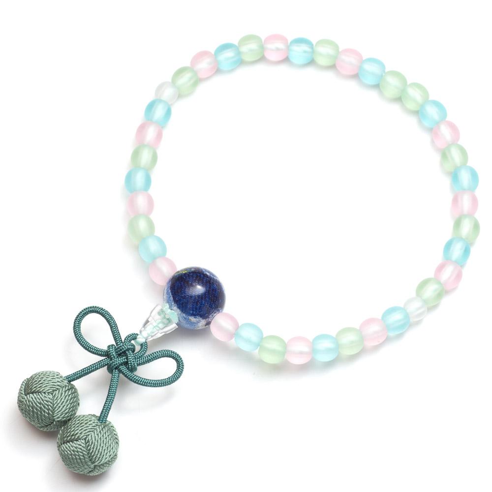 子供用数珠 ミックス玉 さくらんぼ房(青)
