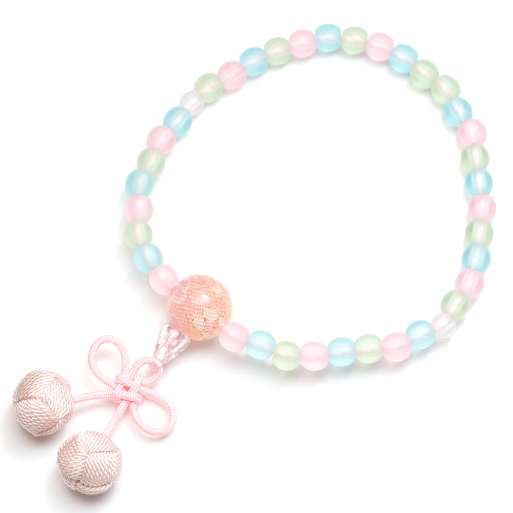 子供用数珠 ミックス玉 さくらんぼ房(淡桃)