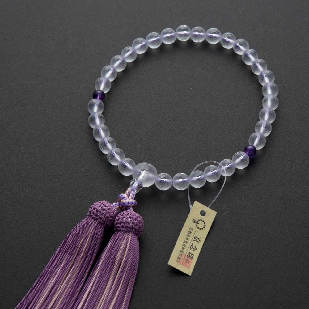 女性用 霧水晶切子8mm 紫水晶仕立 正絹平安襲(かさね)房(若紫)