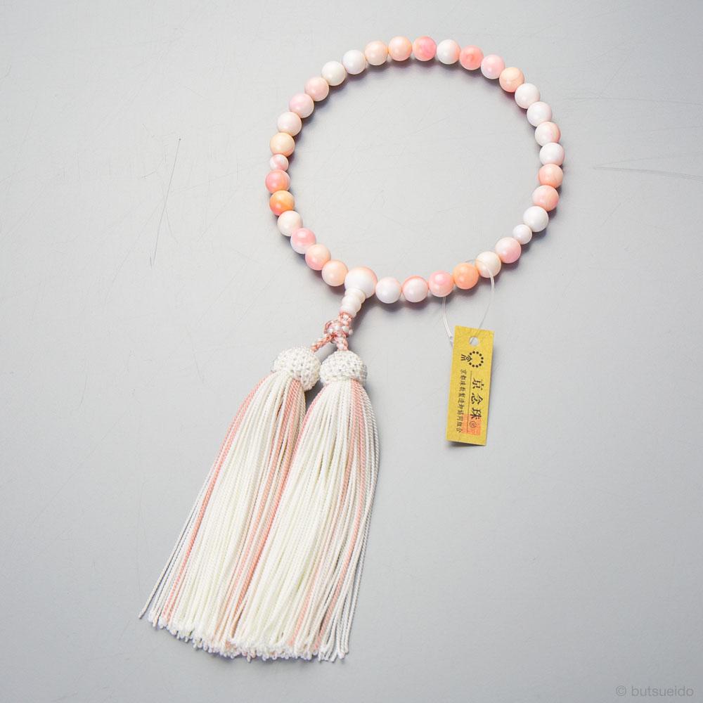 女性用 クィーンコンクシェル8mm玉 共・上仕立 正絹蛍房(白/灰桜)