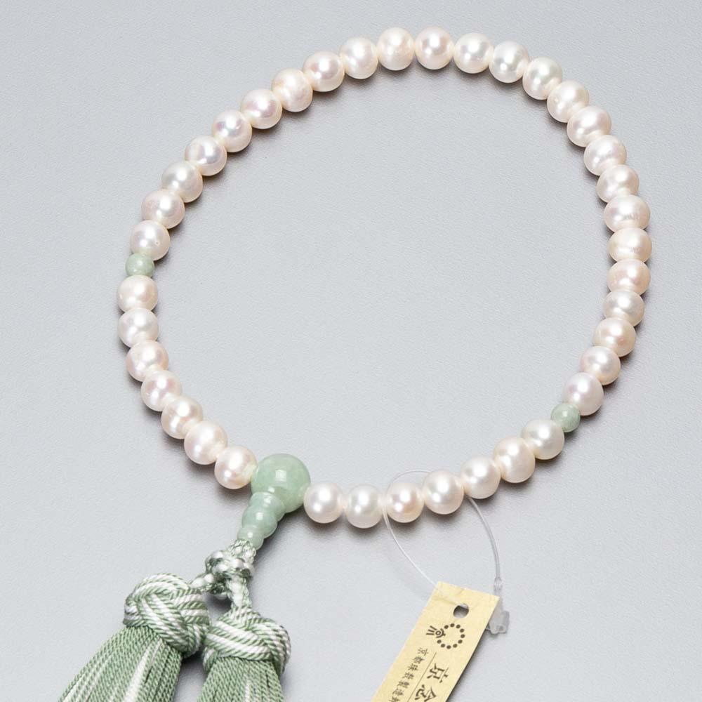 女性用 淡水真珠7mm玉 ビルマ翡翠仕立 上結かがり房