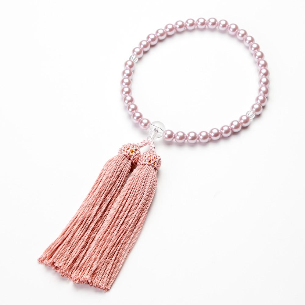 女性用 パールビーズ(ピンク色)7mm玉 クリアビーズ仕立