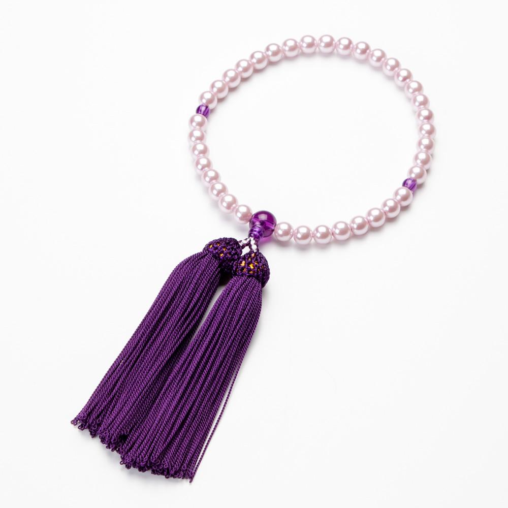 女性用 パールビーズ(ピンク色)7mm玉 濃紫色ビーズ仕立